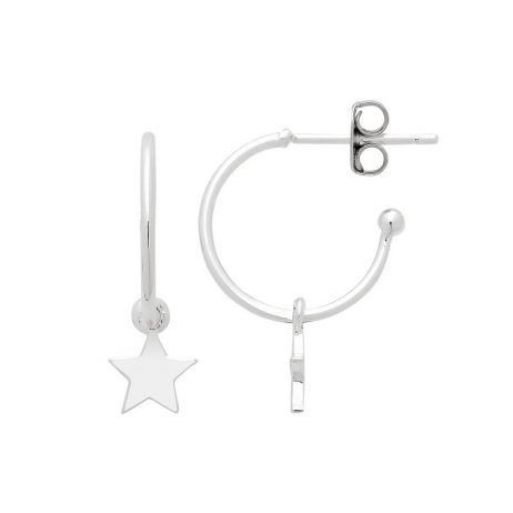 Estella Bartlett Star Drop Hoop Earrings Silver Plated