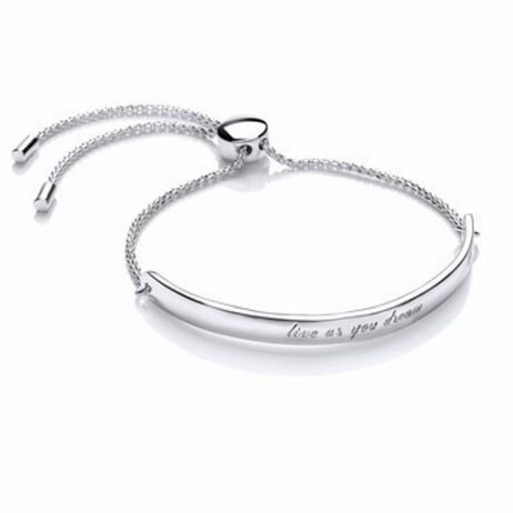 Estella Bartlett Live As You Dream Message Bangle Silver Plated