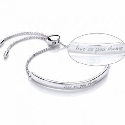 Estella Bartlett Live As You Dream Message Bangle Silver Plated EB2000C