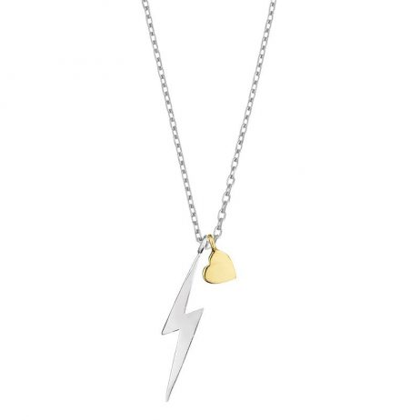 Estella Bartlett Lightning Bolt And Heart Necklace Silver and Gold Plated - EOL