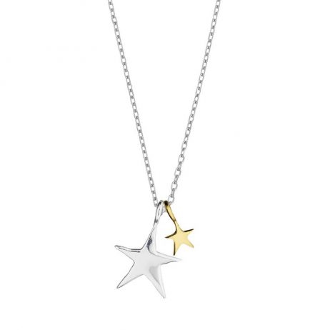 Estella Bartlett Double Handrawn Star Necklace Silver and Gold Plated