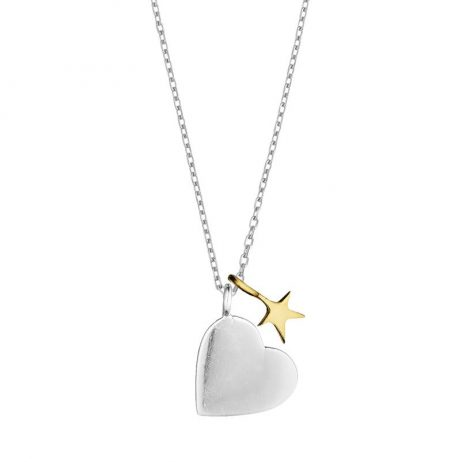 Estella Bartlett Double Charm Heart And Star Necklace Silver and Gold Plated