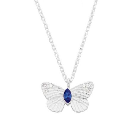 Estella Bartlett Butterfly Necklace Silver Plated