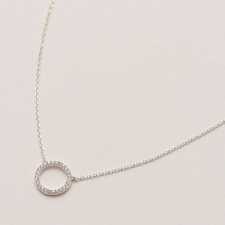 Estella Bartlett Pave Set Circle CZ Necklace Silver Plated