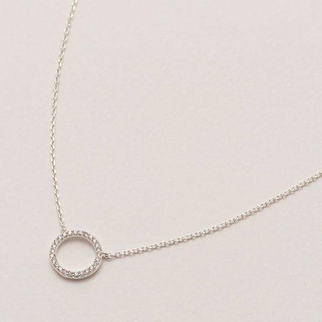 Estella Bartlett Pave Set Circle CZ Necklace Silver Plated
