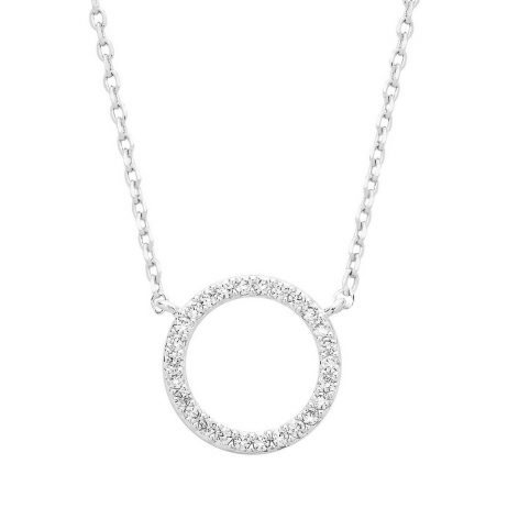 Estella Bartlett Pave Set Circle CZ Necklace Silver Plated EOL