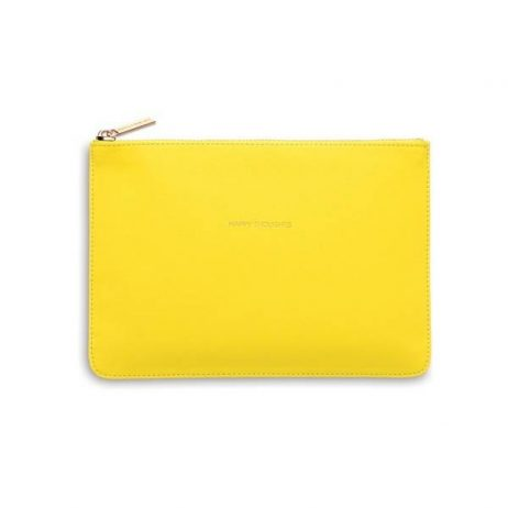 Personalised Estella Bartlett Yellow Medium Pouch Happy Thoughts