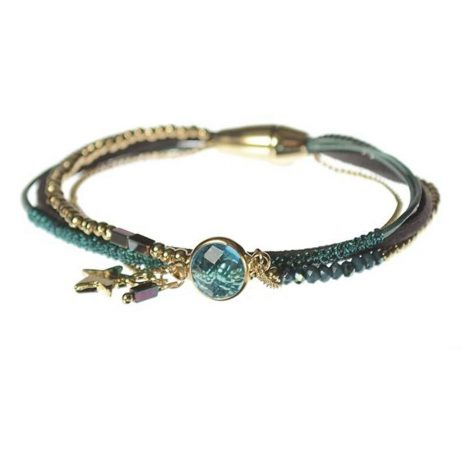 Hot Tomato Jewellery Teal and Gold Star Crystal Bracelet - EOL