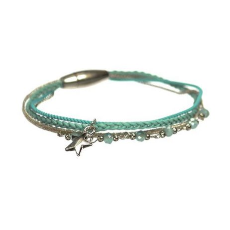 Hot Tomato Jewellery Silver Star Crystal Turquoise Bracelet
