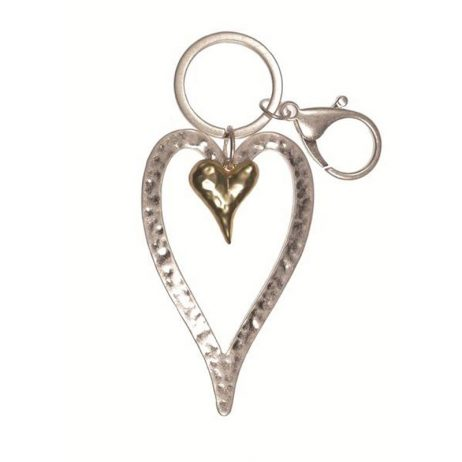 Hot Tomato Silver and Gold Heart Key Ring EOL
