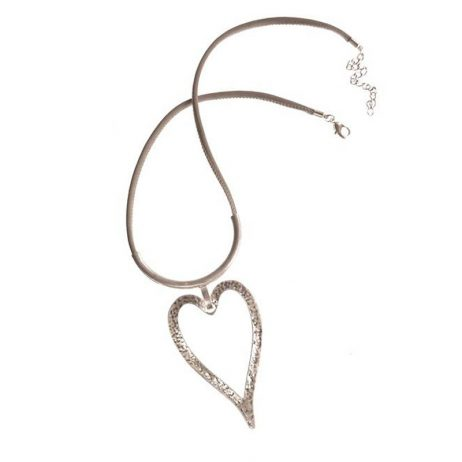 Hot Tomato Natural Silver Heart Necklace