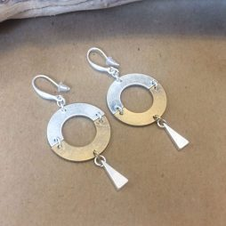 Hot Tomato Jewellery Gold and Silver Circle Earrings