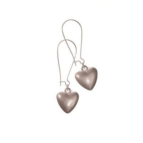 Hot Tomato Jewellery Worn Silver Heart Drop Earrings