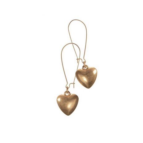 Hot Tomato Jewellery Worn Gold Heart Drop Earrings