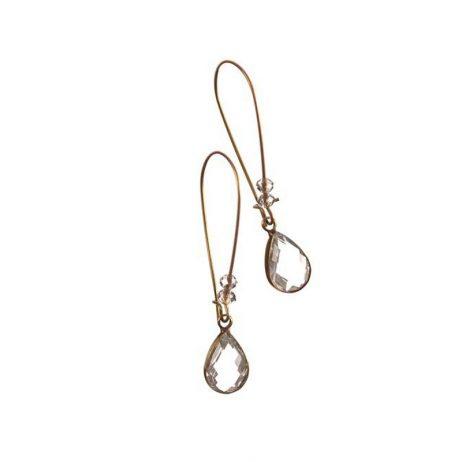 Hot Tomato Jewellery Antique Gold Teardrop Crystal Hook Earrings - EOL