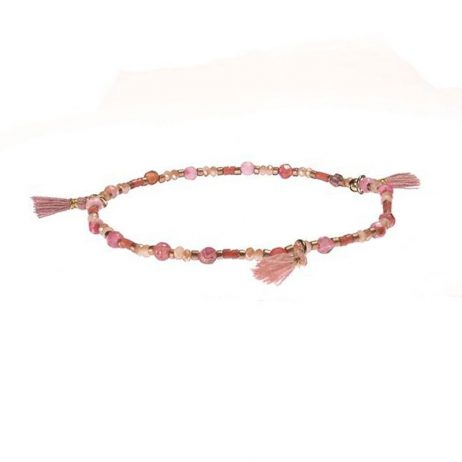 Hot Tomato Jewellery Pink Tallulah Bead Tassel Bracelet