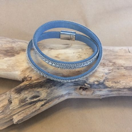 Hot Tomato Jewellery Blue and Silver Braid Double Wrap Bracelet - EOL