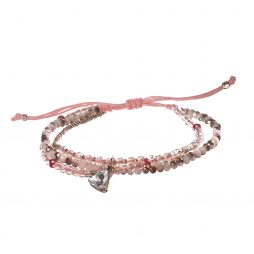 Hot Tomato Jewellery Pink Bead and Heart Crystal Friendship Bracelet