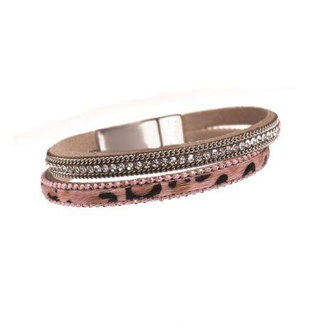 Hot Tomato Jewellery Animal Magic Faux Fur Bracelet Blush and Crystal