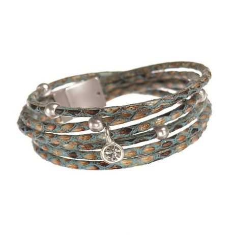 Hot Tomato Jewellery Turquoise and Silver Double Wrap Bracelet - EOL