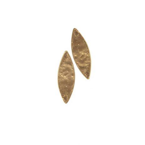 Hot Tomato Jewellery Matt Gold Ellipse Stud Earrings