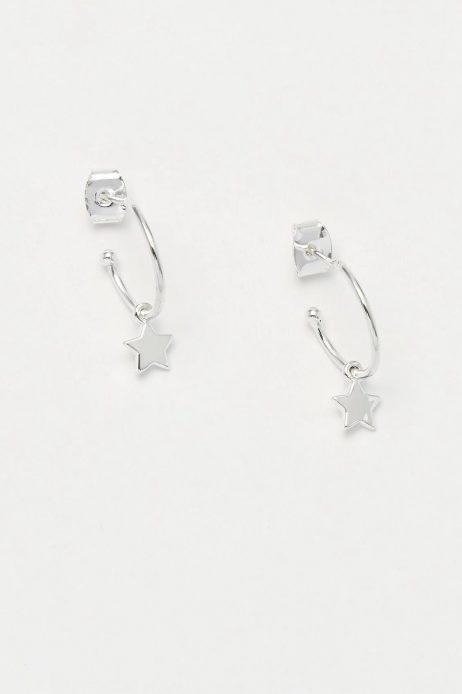 Estella Bartlett Star Drop Hoop Earrings Silver Plated