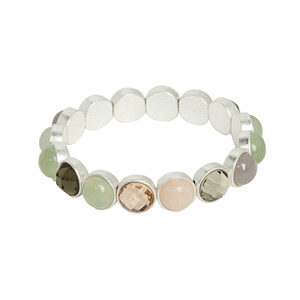 Sence Copenhagen Mindfulness New Jade Rose and Amazonite Worn Silver Bracelet - EOL