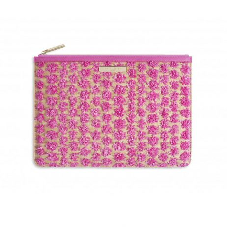 Katie Loxton Polly Pom Pom Clutch Bag Pink