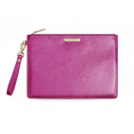 Katie Loxton Luxe Clutch Bag Metallic Pink eol