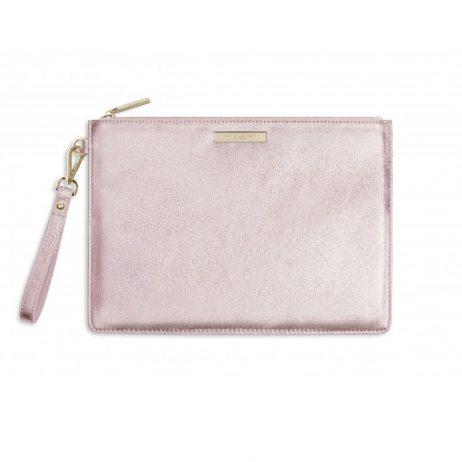Katie Loxton Luxe Clutch Bag Metallic Rose Gold EOL