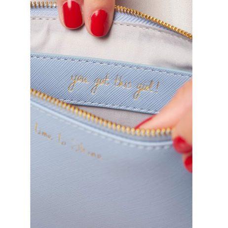 Katie Loxton Secret Message Pouch Time To Shine Cornflower Blue