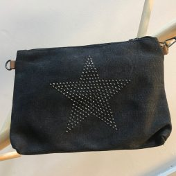 Hot Tomato Star Clutch Bag Charcoal Stonewash Canvas