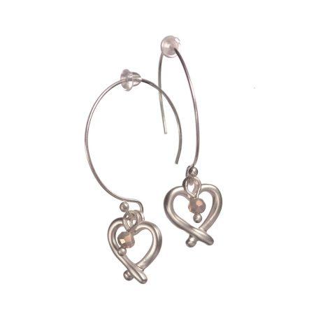 Hot Tomato Jewellery Heart on Demi Hoop Silver Earrings