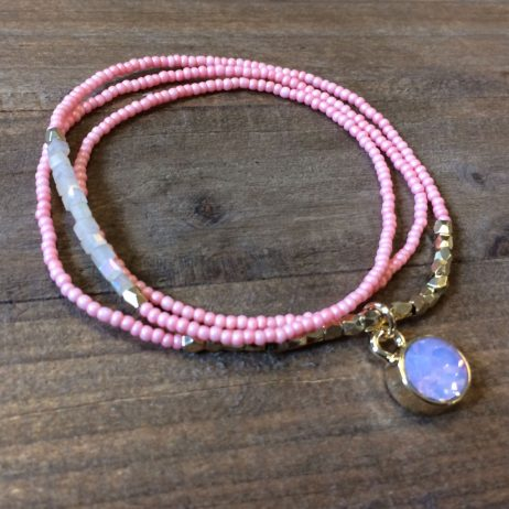 Hot Tomato Jewellery Pink Crystal 2 in 1 Bracelet and Necklace