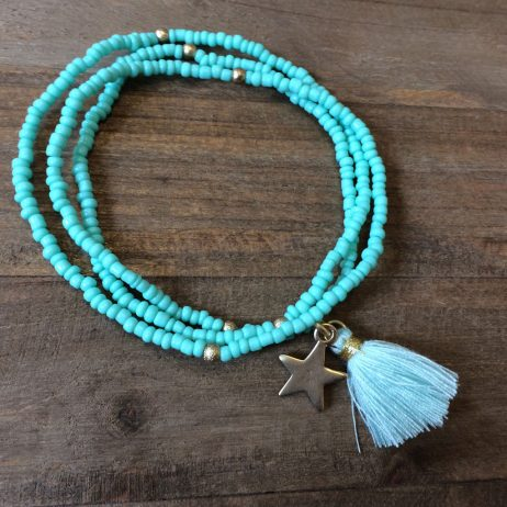 Hot Tomato Jewellery Tassel and Star Aqua 2 in 1 Bracelet and Necklace