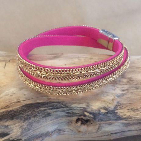 Hot Tomato Jewellery Fuschia and Gold Braid Double Wrap Bracelet