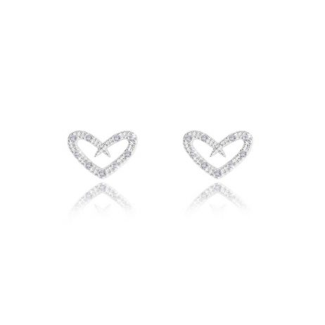 Joma Jewellery Friendship Sentiment Set Pave Heart Earrings And Necklace 2752