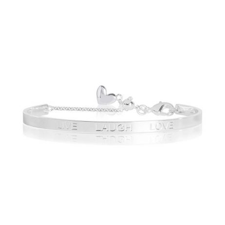Joma Jewellery Life's a Charm Live Love Laugh Engraved Silver Bangle 2761