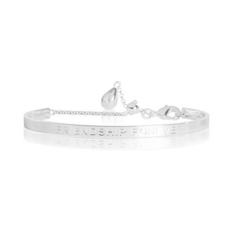 Joma Jewellery Life's a Charm Friendship Forever Engraved Silver Bangle 2762