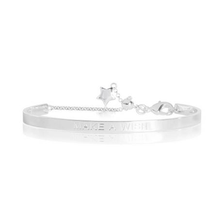 Joma Jewellery Life's a Charm Make a Wish Engraved Silver Bangle 2764