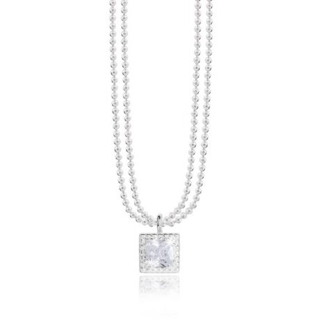 Joma Jewellery Esmee CZ Silver Double Chain Necklace 2828 - EOL