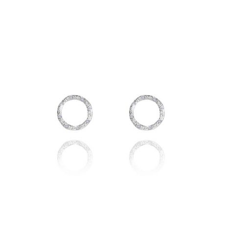 Joma Jewellery Thea Circle Silver Pave Earrings 2868