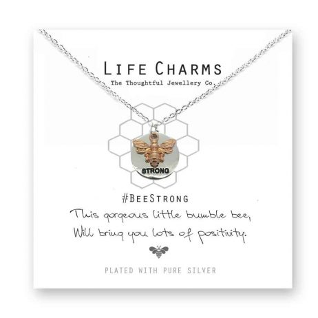 Life Charms Bee Strong Silver Necklace