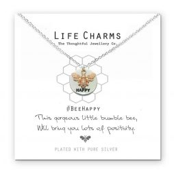 Life Charms Bee Happy Silver Necklace
