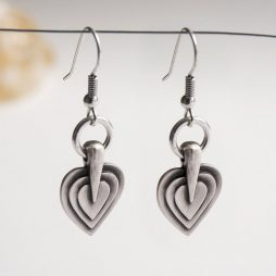Danon Jewellery Layers Of Love Silver Drop Earrings