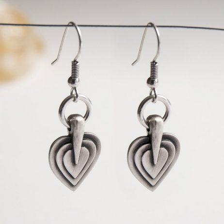 Danon Jewellery Layers Of Love Silver Drop Earrings