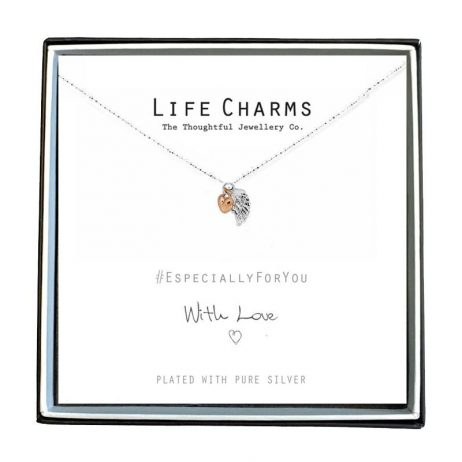 Life Charms Especially For You Angel Wing and Heart Necklace