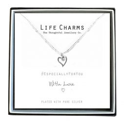Life Charms Especially For You Heart and Crystal Necklace