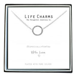 Life Charms Especially For You Crystal Circle Silver Necklace