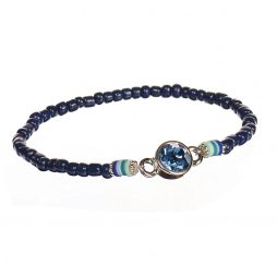 Hot Tomato Jewellery Navy Blue Bead Bracelet with Crystal